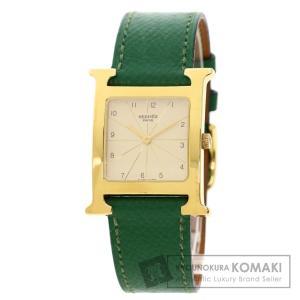 HERMES エルメス RS1.501 Hウォッチ 腕時計  GP 革 メンズ  中古