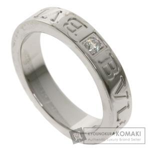 BVLGARI ブルガリ ダブルロゴリング 1P ダイヤモンド リング・指輪 K18ホワイトゴールド レディース 中古|kyounokura