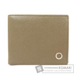 BVLGARI ブルガリ ロゴ金具 二つ折り財布(小銭入れなし)レザー メンズ 中古