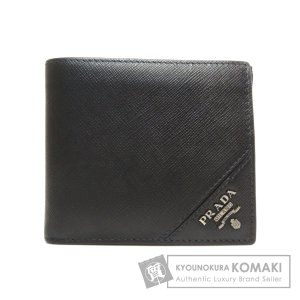 PRADA プラダ ロゴモチーフ 二つ折り財布(小銭入れあり)レザー メンズ 中古