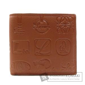 LOEWE ロエベ ロゴマーク 型押し 二つ折り財布(小銭入れあり) カーフ レディース 中古 kyounokura