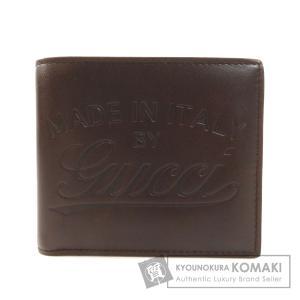 GUCCI グッチ 256452 ロゴデザイン 二つ折り財布(小銭入れなし) カーフ メンズ 中古|kyounokura