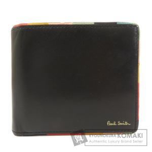 Paul Smith ポール・スミス ロゴモチーフ 二つ折り財布(小銭入れあり) レザー メンズ 中...