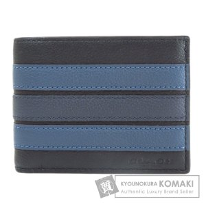 COACH コーチ ロゴ 二つ折り財布(小銭入れなし) レザー レディース 中古|kyounokura