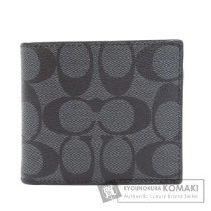 COACH コーチ シグネチャー 二つ折り財布(小銭入れなし) PVC メンズ 中古|kyounokura