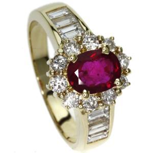 SELECT JEWELRY セレクトジュエリー  ルビー/ダイヤモンド リング・指輪 K18イエローゴールド  中古
