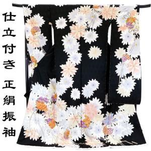 手縫い仕立付き 手描友禅 正絹 振袖 f-004(黒 ブラック 刺繍 成人式 結婚式 卒業式 新品購入 丹後ちりめん)|kyouto-usagido