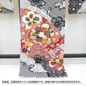 SALEセール 振袖 フルオーダー仕立付 総絞り 古典柄 正絹 刺繍入り f-033 赤 黒 成人式 新品販売 kyouto-usagido 05