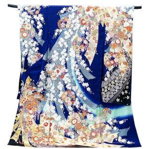 振袖 古典柄 決算セール 仕立て付き 豪華 正絹 f-043-t 紺色 のしめ文様 刺繍入り 成人式 新品購入 |kyouto-usagido