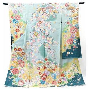 振袖 古典柄 仕立て付き 【受賞柄】 正絹 f-044-t 若竹色 刺繍入り 成人式 新品購入 |kyouto-usagido