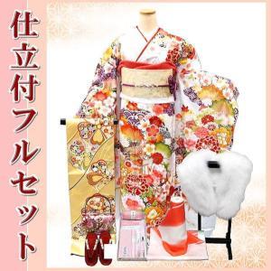 決算セール!手縫い仕立て付き 正絹 振袖フルセット f-049 白 刺繍入り 古典柄 振袖セット 成人式|kyouto-usagido