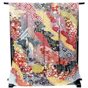 振袖 古典柄 決算セール 仕立て付き 特選 総絞り 正絹 f-053 黒地 刺繍入り 成人式 新品購入|kyouto-usagido