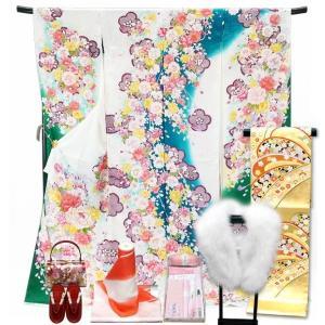 手縫い仕立て付き 正絹 振袖フルセット f-054 刺繍 桜 牡丹 古典柄 振袖セット 成人式|kyouto-usagido