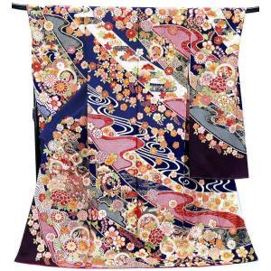 振袖 古典柄 仕立て付き 正絹 f-075-t 紺  刺繍入り 成人式 新品購入...