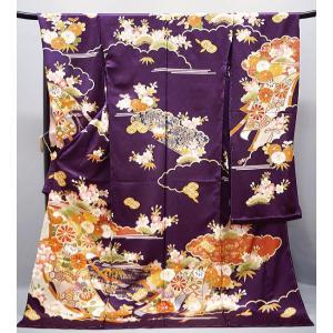 振袖 古典柄 京友禅 内と良 手描 友禅 正絹 f-084 紫|kyouto-usagido