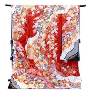 振袖 古典柄 決算セール仕立て付き 特選 総絞り 正絹 f-253 赤 白 辻が花 刺繍入り 成人式...