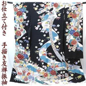 振袖 古典柄 仕立て付き 手描 友禅 正絹 f-346 黒色 彩色紅型調 古典華文 成人式 新品購入|kyouto-usagido