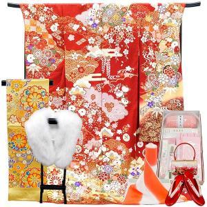 正絹振袖フルセット 一式 仕立て付き f-523 袴プレゼント(古典柄 赤 レッド 刺繍入り 成人式 卒業式 結婚式 新品購入) |kyouto-usagido