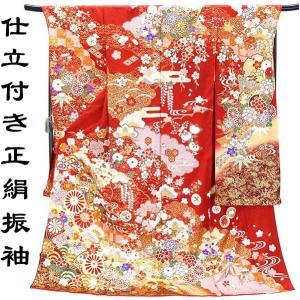 仕立て付き 正絹振袖 f-523-t 袴プレゼント!(古典柄 赤 レッド 貝桶 刺繍入り 成人式 卒業式 結婚式 新品購入)|kyouto-usagido