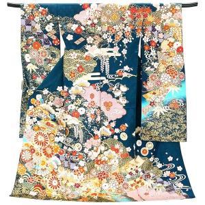 仕立て付き 正絹振袖 f-525-t 袴プレゼント!(古典柄 グリーン ブルー 緑 青 貝桶 刺繍入り 成人式 卒業式 結婚式 新品購入)|kyouto-usagido