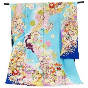 振袖 古典柄 仕立て付き 正絹 f-527-t  水色  刺繍入り 成人式 新品購入|kyouto-usagido