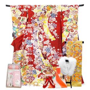 振袖 フルセット 一式 仕立て付き 正絹振袖 f-538 袴プレゼント古典柄 レッド 赤 刺繍入り 成人式 卒業式 結婚式 新品購入|kyouto-usagido