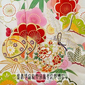 SALE  仕立て付き 正絹振袖 f-554-t 袴プレゼント!古典柄 白 ホワイト 刺繍入り 成人式 卒業式 結婚式 新品購入|kyouto-usagido|04