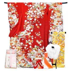 SALE 振袖 フルセット 一式 仕立て付き 正絹振袖 f-555 袴プレゼント古典柄  赤 レッド 成人式 卒業式 結婚式 新品|kyouto-usagido