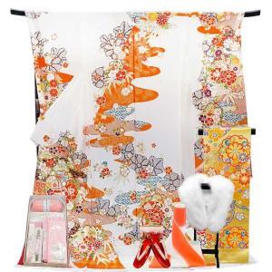 振袖 フルセット 一式 仕立て付き 正絹振袖 f-558 袴プレゼント古典柄 白 ホワイト 刺繍入り 成人式 卒業式 結婚式 新品|kyouto-usagido