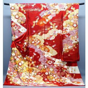 振袖 【決算セール】 仕立付き 特選品 刺繍 友禅染  f-908  古典柄 赤 成人式 新品購入 kyouto-usagido