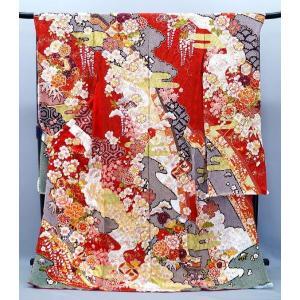 振袖 古典柄 決算セール 仕立て付き 特選 総絞り 正絹 f-993 赤 刺繍入り 成人式 新品購入...