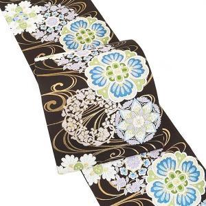 35%OFF セール 帯 フォーマル 結婚式 西陣織袋帯  振袖 成人式 仕立付 西陣織正絹袋帯  こげ茶色  fo-387 振袖用 訪問着用などに|kyouto-usagido