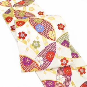 帯 振袖 成人式 仕立付 西陣織袋帯 fo-520 ゴールド ホワイト 白 花文様 振袖用 訪問着用|kyouto-usagido