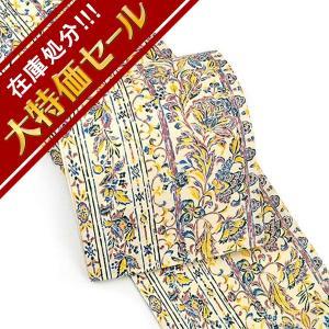染め帯 正絹袋帯 西陣織 更紗文様 仕立て付き fo-558 紬 小紋 モダン カジュアル着物 アイボリー|kyouto-usagido