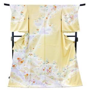 フルオーダー 手縫い仕立て付き 正絹 手描き友禅 訪問着 刺繍入り h-198 古典柄 若草色|kyouto-usagido