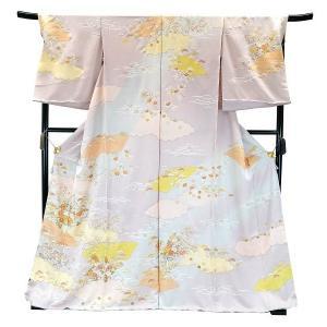 フルオーダー 手縫い仕立て付き 正絹 手描き友禅 訪問着 刺繍入り h-947 古典柄 薄紫 薄パープル|kyouto-usagido
