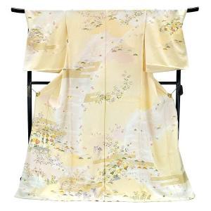 フルオーダー 手縫い仕立て付き 正絹 手描き友禅 訪問着 刺繍入り h-949 古典柄 黄色 クリーム|kyouto-usagido
