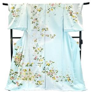 フルオーダー 手縫い仕立て付き 正絹 手描き友禅 訪問着 刺繍入り h-951 古典柄 椿 水色 ライトブルー 青|kyouto-usagido