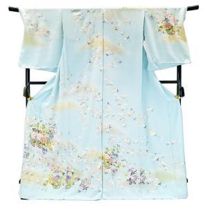 フルオーダー 手縫い仕立て付き 正絹 手描き友禅 訪問着 刺繍入り h-954 古典柄 花文様 水色|kyouto-usagido