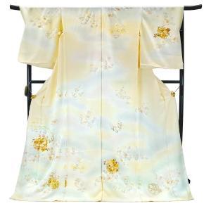 フルオーダー 手縫い仕立て付き 正絹 手描き友禅 訪問着 刺繍入り h-955 古典柄 雪輪 季節の花々 クリーム 薄黄色|kyouto-usagido