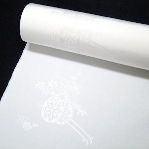 20%off 白地の正絹長襦袢 和装 着物 <花車文>j-075 黒留袖、色留袖、喪服などに|kyouto-usagido