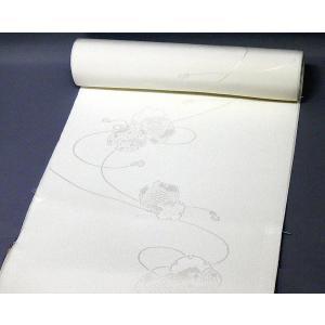 白地の正絹長襦袢<鼓柄>j-077 黒留袖、色留袖、喪服などに|kyouto-usagido