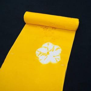 特選品 正絹 絞り 長襦袢 振袖用 からし色  雪輪文 j-191 送料無料|kyouto-usagido