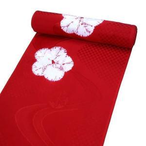 特選品 正絹 絞り 長襦袢 振袖用 赤色  御所車 梅柄 j-192 送料無料|kyouto-usagido