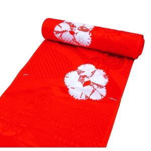 特選品 正絹絞り長襦袢 振袖用 赤色  御車柄 j-193 送料無料|kyouto-usagido