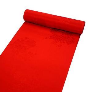 振袖用 正絹長襦袢、赤色  雪輪に花 j-194|kyouto-usagido