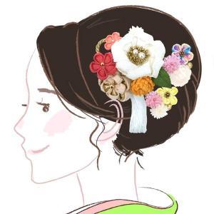 髪飾り かんざし大小2点セット kk-003  フラワー 白ピンク 成人式振袖 コーム型 浴衣 卒業式  |kyouto-usagido
