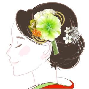 髪飾り 花かんざし 2点セット kk-005 緑 グリーン 組紐 成人式 振袖 浴衣 卒業式|kyouto-usagido