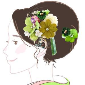 セール 髪飾り 3点セット kk-027 グリーン 緑 若草色 コーム型 かんざし 成人式振袖  卒業式  |kyouto-usagido