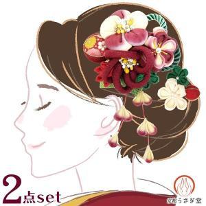 髪飾り 5点セット kk-037 赤 コーム型  かんざし 成人式 振袖 卒業式 結婚式 |kyouto-usagido